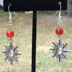 Red Fire Agate Silver Sun Earrings